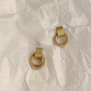 Gold Metal Multi-layer Stud Earrings